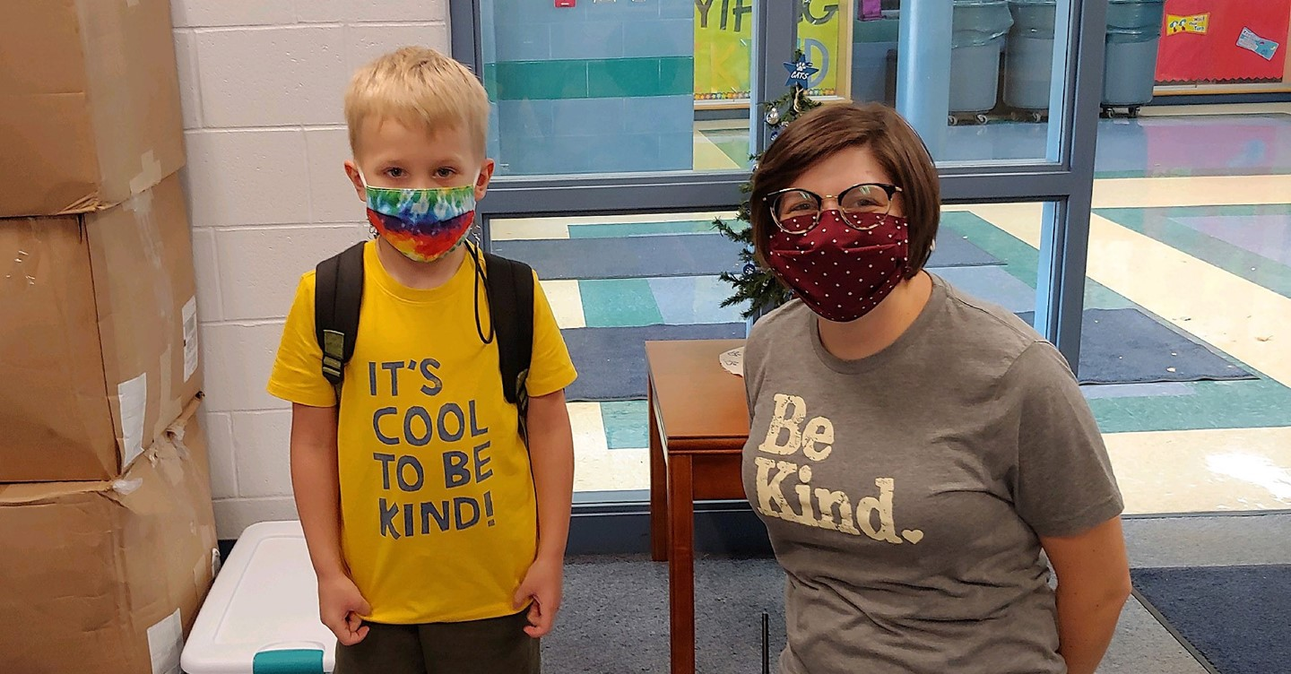 Teacher and Student in Be Kind tshirts