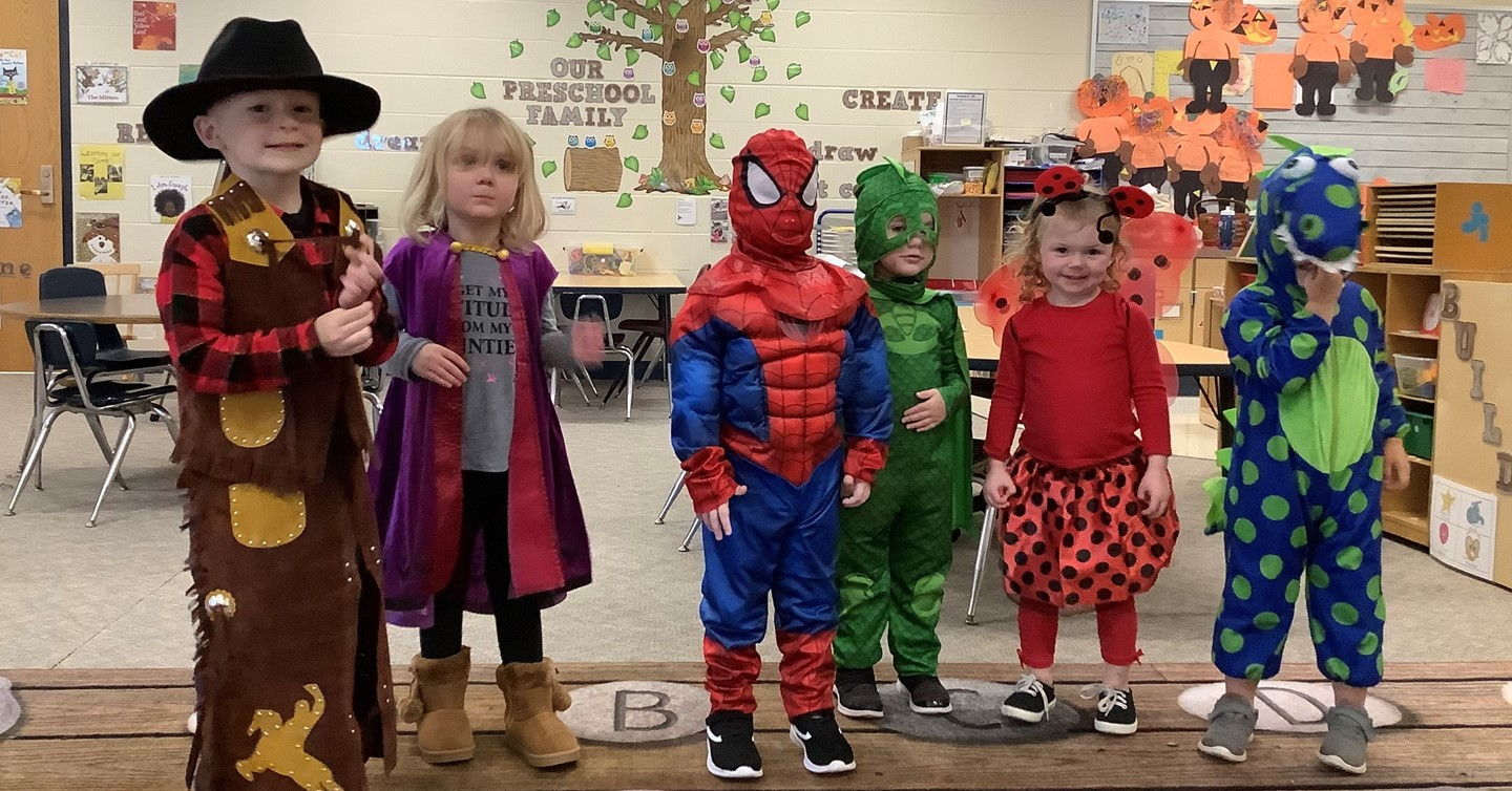 Students in Halloweeen costumes
