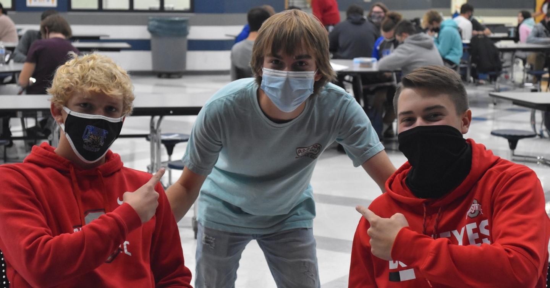 Three High School Boys in Cafeteria