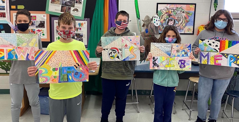 Five Middle School students display art work