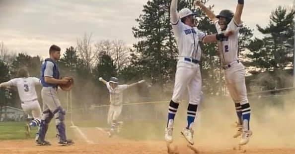 Baseball Players celebrating Walkoff win