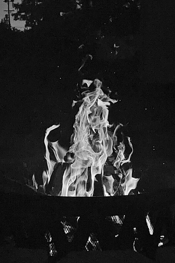 B&W Camp Fire