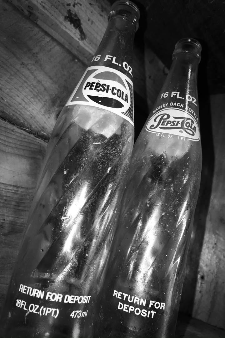 B&W glass Pepsi Bottles